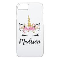 Unicorn Face With Eyelashes Personalized Name iPhone 8/7 Case
