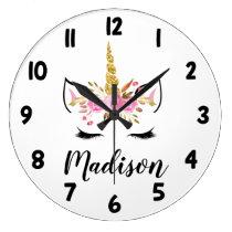 Unicorn Face With Eyelashes Personalized Name Large Clock