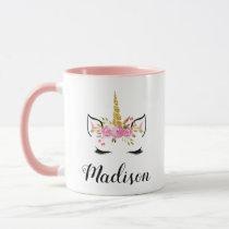 Unicorn Face With Eyelashes Personalized Name Mug