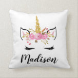 "Unicorn Face With Eyelashes Personalized Name Throw Pillow<br><div class=""desc"">Unicorn Face With Eyelashes Personalized Name Throw Pillow.</div>"