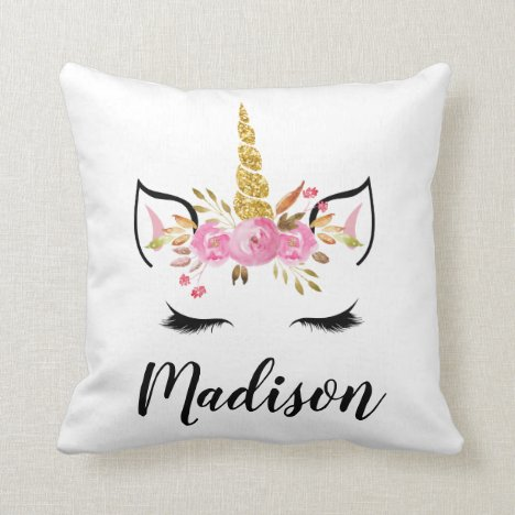 Unicorn Face With Eyelashes Personalized Name Throw Pillow