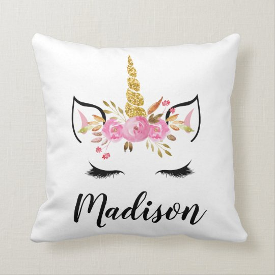 Favorite Unicorn Face With Eyelashes Personalized Name Throw Pillow  IS78