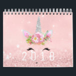 "Unicorn Faces Horn Glitter Pink Rose Gold Pastel Calendar<br><div class=""desc"">Beautiful colletion og sparkly unicorns. Each color and style corespond with different months. 