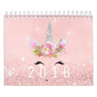 Unicorn Faces Horn Glitter Pink Rose Gold Pastel Calendar