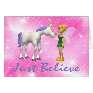 Unicorn & Fairy Just Believe Greeting Card
