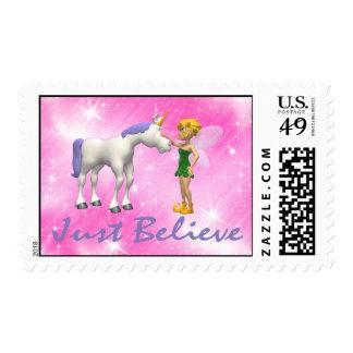 Unicorn & Fairy Just Believe Postage