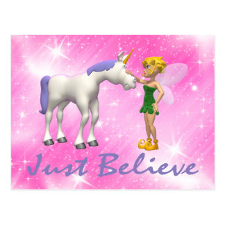 Unicorn & Fairy Just Believe Postcard