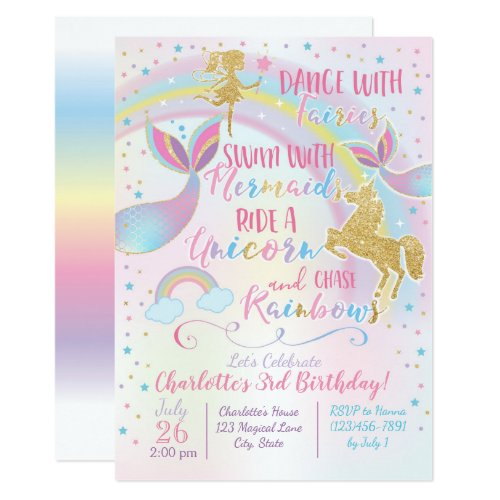 Unicorn Fairy Mermaid Birthday Magical Invitation