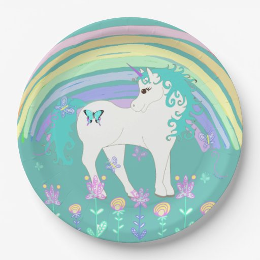 Unicorn Fairy tale Birthday Party Plates Teal