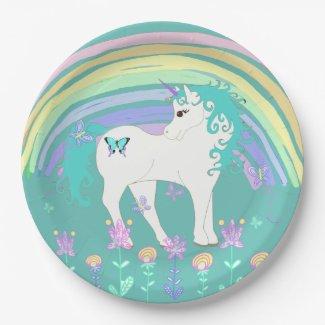 Unicorn Fairy tale Birthday Party Plates Teal