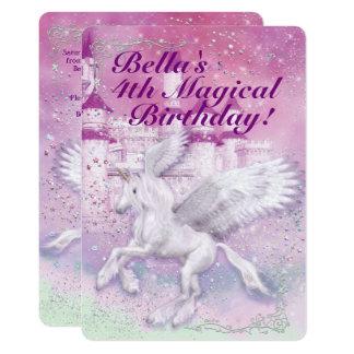 Unicorn Fantasy Castle Birthday Party Card