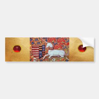 UNICORN,FANTASY FLORAL MOTIFS,RED RUBY GEMSTONES BUMPER STICKER