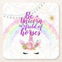 Unicorn Field Horses Pink Gold Glitter Girls Gifts Square Paper Coaster