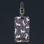 """Unicorn Fields Bag Tag<br><div class=""""desc"""">Whimsical pink,  blue and gold unicorn and floral pattern designed by Shelby Allison.</div>"""