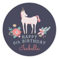 Unicorn Fields Birthday Party Classic Round Sticker