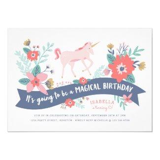 Unicorn Fields Birthday Party Invite