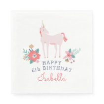 Unicorn Fields Birthday Party Napkin