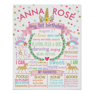 Unicorn First Birthday Party sign poster