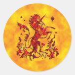 Unicorn Flames Round Stickers