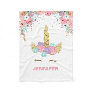 Unicorn Fleece Blanket personalized Girl Floral
