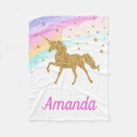 Unicorn Fleece Blanket, Pink & Gold