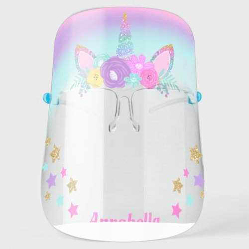 Unicorn Floral Gold Glitter Horn Personalized Face Face Shield