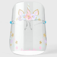 Unicorn Floral Gold Glitter Horn Personalized Face Shield