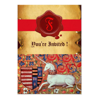 UNICORN FLORAL PARCHMENT RED WAX SEAL MONOGRAM CARD
