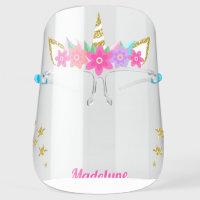 Unicorn Flowers Gold Glitter Stars Personalized Face Shield