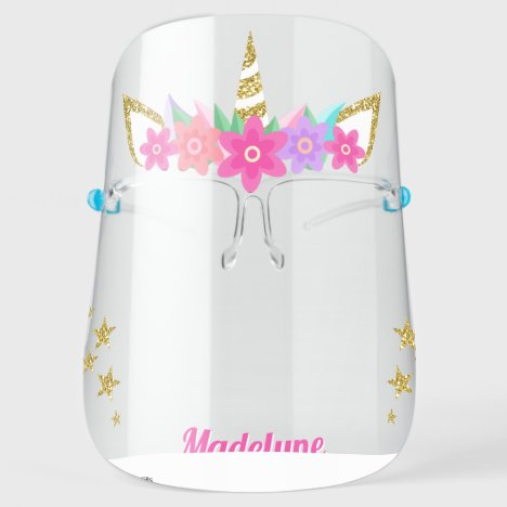 Unicorn Flowers Gold Glitter Stars Personalized Face Shield