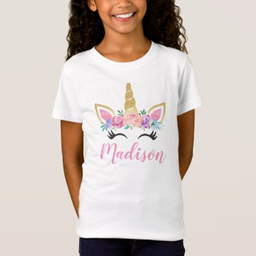 Unicorn Flowers Personalized Name Shirt