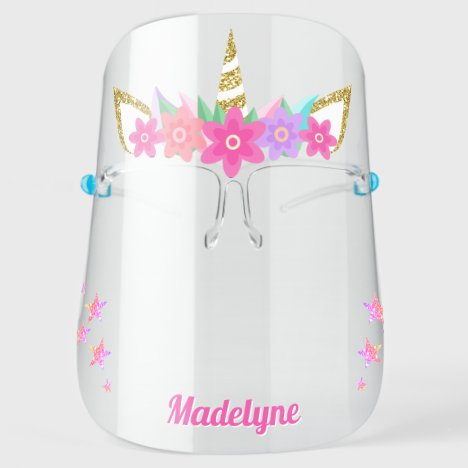 Unicorn Flowers Rainbow Glitter Stars Personalized Face Shield