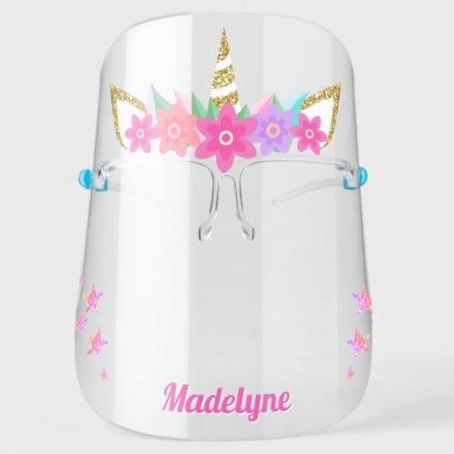 Unicorn Flowers Rainbow Glitter Stars Personalized Face Shield
