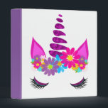 """Unicorn Flowery Super Cute Girly 3 Ring Binder<br><div class=""""desc"""">A fun design with a colorful floral fantasy Unicorn head; so cute and whimsical and a favorite with young girls;  the perfect gift for a young girl who loves unicorns</div>"""