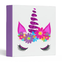 Unicorn Flowery Super Cute Girly 3 Ring Binder