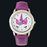 """Unicorn Flowery Super Cute Girly Wrist Watch<br><div class=""""desc"""">A fun design with a colorful floral fantasy Unicorn head; so cute and whimsical and a favorite with young girls;  the perfect gift for a young girl who loves unicorns</div>"""