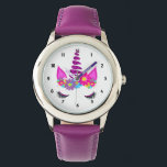 "Unicorn Flowery Super Cute Girly Wrist Watch<br><div class=""desc"">A fun design with a colorful floral fantasy Unicorn head; so cute and whimsical and a favorite with young girls;  the perfect gift for a young girl who loves unicorns</div>"