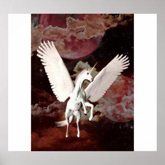 Unicorn flying poster