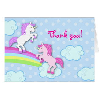 Unicorn Folded Thank You Note Card