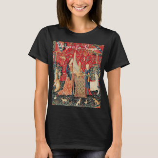 UNICORN FOR MAGIC LADY PLAYING ORGAN Red Green T-Shirt