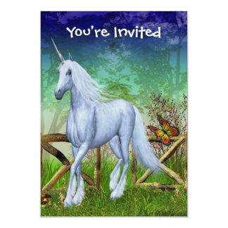 """Unicorn Forest Gate Cute Fantasy Invitation 5"""" X 7"""" Invitation Card"""