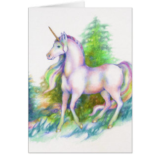 Unicorn Forest rainbow fantasy horse Greeting Card