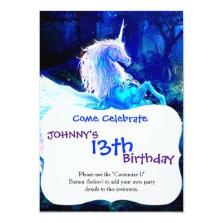 Unicorn Forest Stars Cristal Blue 5x7 Paper Invitation Card