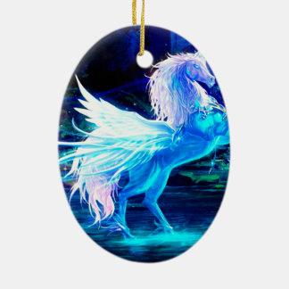 Unicorn Forest Stars Cristal Blue Ceramic Ornament
