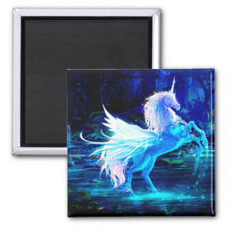 Unicorn Forest Stars Cristal Blue Magnet