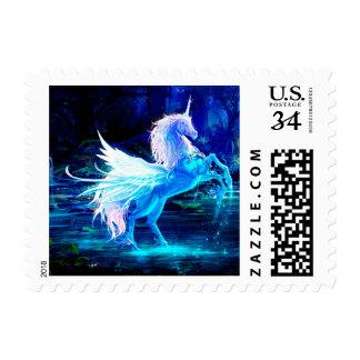 Unicorn Forest Stars Cristal Blue Postage