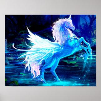 Unicorn Forest Stars Cristal Blue Poster