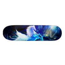 Unicorn Forest Stars Cristal Blue Skateboard Deck