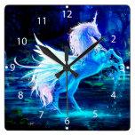 Unicorn Forest Stars Cristal Blue Square Wall Clocks