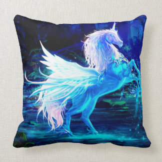 Unicorn Forest Stars Cristal Blue Throw Pillow